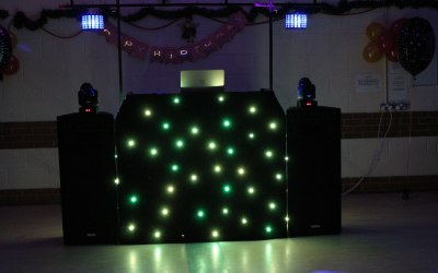 My brand new set up for 2019. With multi colour LED star cloth on booth, 2 ADJ moving heads and 2 ADJ Mini decker lights.
