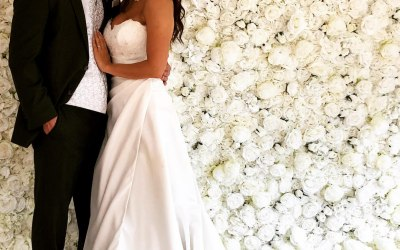 Our classic ivory flower wall