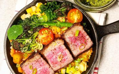 Beef Maminha Chimichurri | Black Angus Maminha (Tri Tip | Rump Tail), Grillet garden Vegetables, Fresh Chimichurri