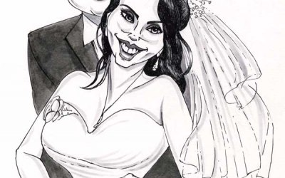 Caricature of bride and groom