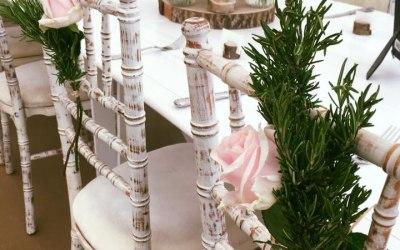 Limewash Chiavari Chairs in a Rustic Pastel setting