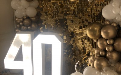 Sequin wall, 4ft lights and balloon garland