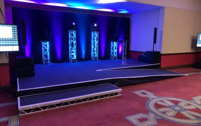 Stage, lighting and set designed, installed and operated by Events ML