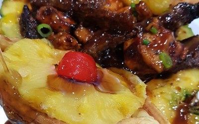 Pineapple Upside Down Waffle/ Teriyaki Chicken and Pan fried steak bowl