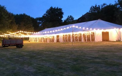 "Our ""OT4000"" Marquee with festoon lights"