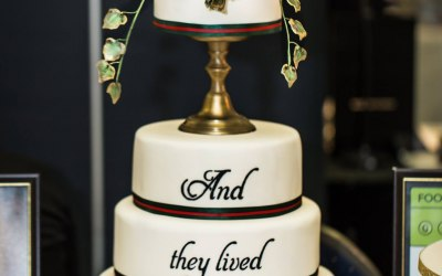 Christmas candlestick wedding cake