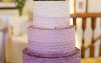 Purple ombre buttercream wedding cake