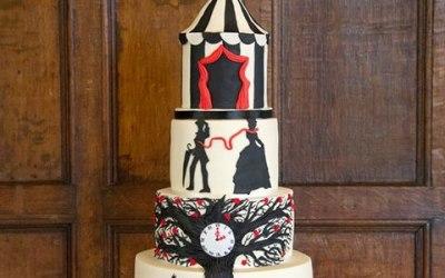 The night circus themed wedding cake
