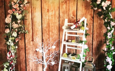 The stunning wedding arch and ladder display is available for hire