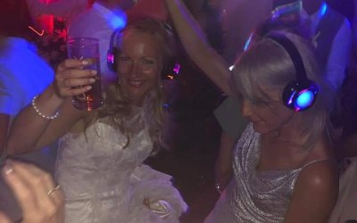Happy Bride with our 4 channel flashing headsets