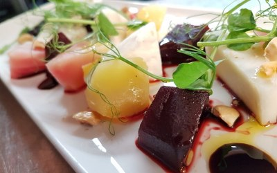 Heritage beetroot and Sussex Goats Cheese salad with hazelnuts