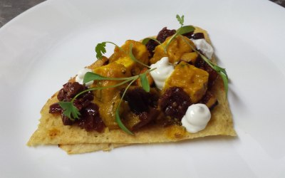 Squash masala with paneer on a dosa with aubergine chutney