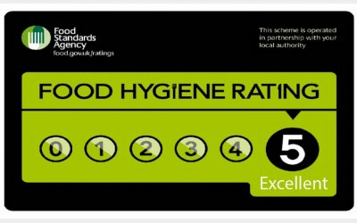 Claridge's Catering 5 Star Hygiene Rating