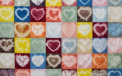 Natural dyed Shibori heart quilt