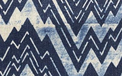 1920s Katagami stencil zigzags, indigo dyed