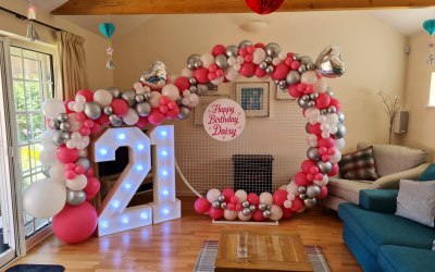 your choice of balloon colour to match your theme - light up numbers add the wow factor