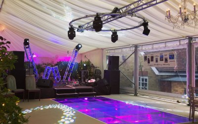 Award winning over swimming pool dance floor, stage & marquee build