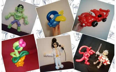 multiple photos of balloon models