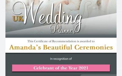 2021 Celebrant of the year award.