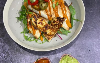 Grilled Halloumi with chipotle & lime