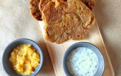 Onion bhajis with raita and pineapple chutney