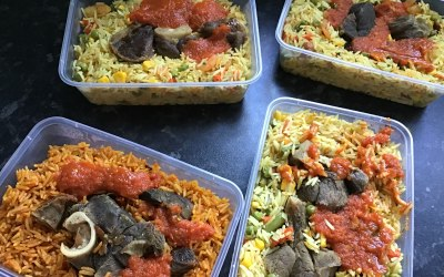 Jollof Rice & Fried Rice with Goat Meat