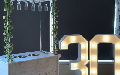 Champagne cart and 4ft light up numbers