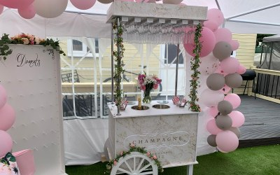 Champagne cart and Donut wall