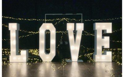 4ft led letters with warm white fairground lights