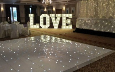 We have the alphabet and numbers 4 times over, Can do any size of dance floor.