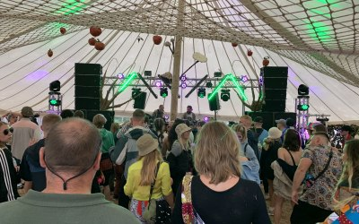 Sound system and lighting rig for the Elephant's Graveyard Stage at Nozstock 2019.