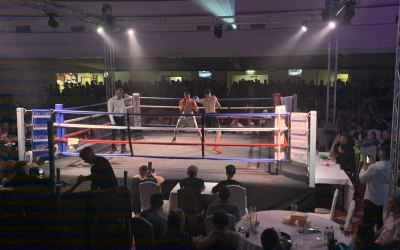 Boxing ring lighting and stage production for amateur boxing event in Wolverhampton in 2019.