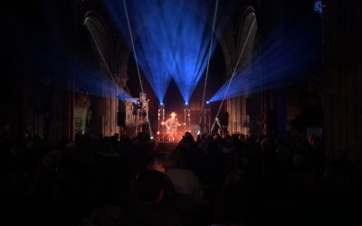 Stage, sound and lighting for Dan Owen, live in St Mary's Church Shrewsbury.