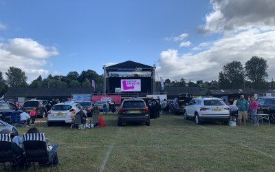 Stage, sound, lighting and LED video wall for the 90s Revival at Shropshire Drive-in.