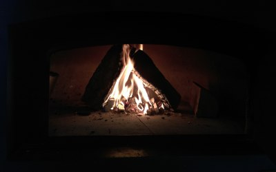 Wood fired pizza oven flames