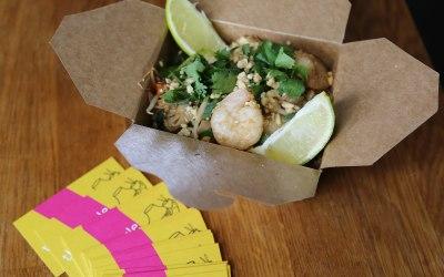 Pad Thai noodles in takeaway box