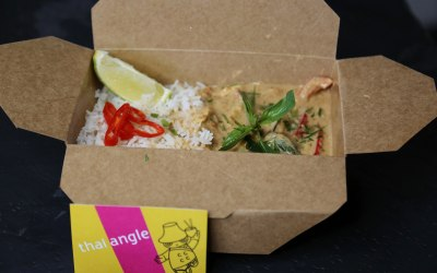 Red curry chicken in takeaway box