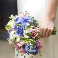 bridal bouquet with hydrangeas