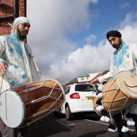 Our dholis in Oldham - Glodwick performing at a Jago