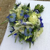 Blue and Cream Brides Bouquet