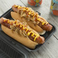 Classic hot dog with onion, ketchup and mustard