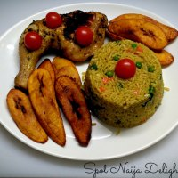 Fried Rice, Grilled Chicken Leg with Fried Ripe Plantain.
