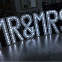 mr & mrs led light up hire £175