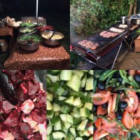 BBQ with freshly prepared salads