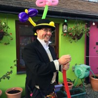 The Conwy Jester balloon modelling as a Victorian gent