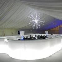 Large illuminated island bar and antares star light
