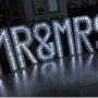 mr & mrs led light up hire £175