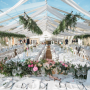 Clear roof frame marquee with voiles