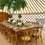 A glamorous dining experience in a yurt