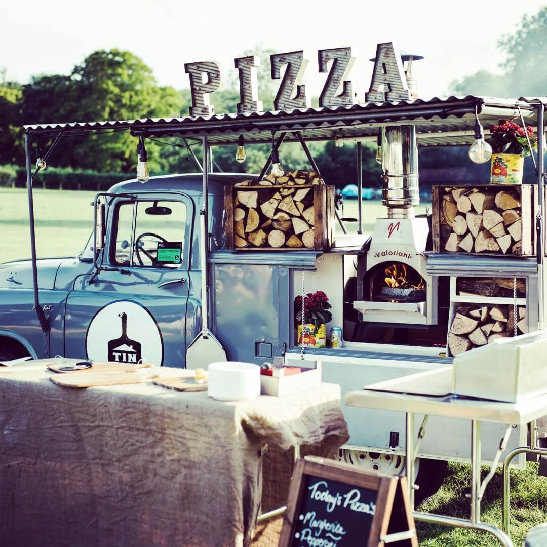 The Tin Roof kitchen wood-fired set up at an event